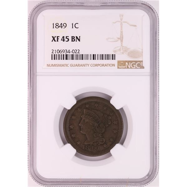1849 Braided Hair Large Cent Coin NGC XF45BN
