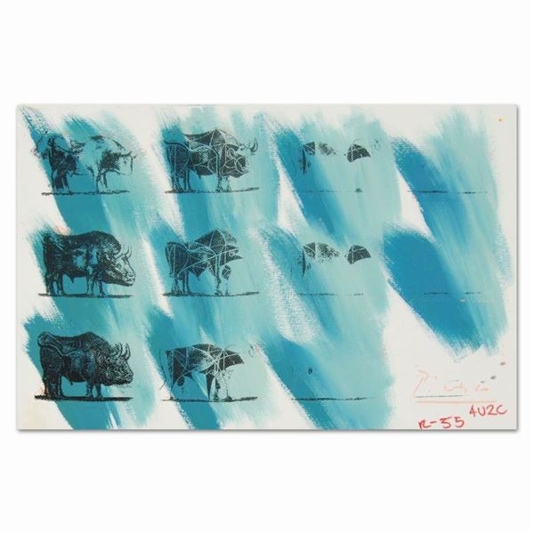 "Ringo Daniel Funes ""Eleven Bulls (Picasso)"" Original Mixed Media on Canvas"