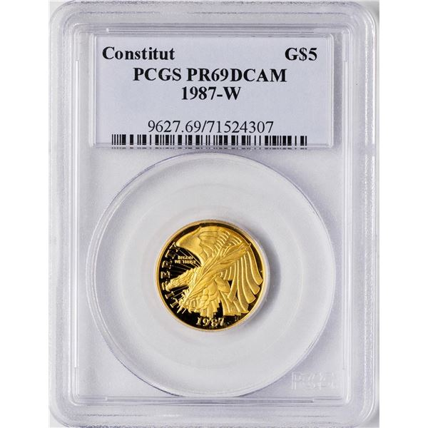 1987-W $5 Proof Constitution Commemorative Gold Coin PCGS PR69DCAM