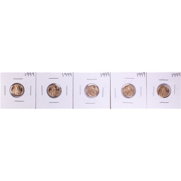 Lot of (5) 1999 $5 American Gold Eagle Coins
