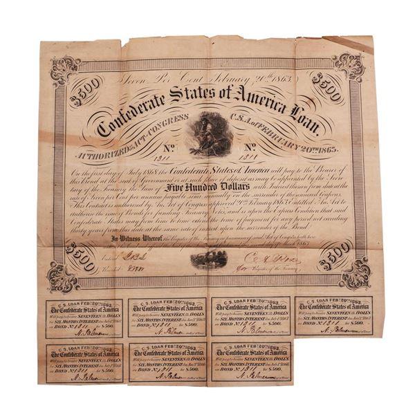 1863 $500 Confederate Bond Obsolete Sheet B-220