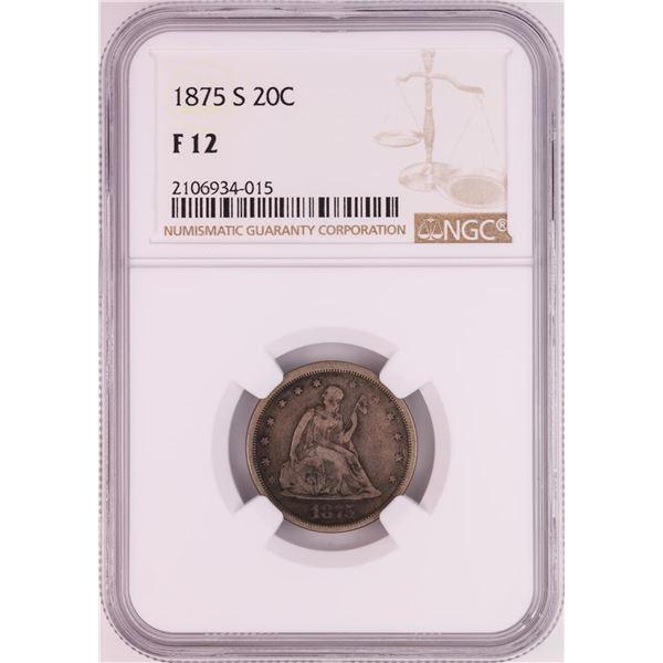 1875-S Twenty Cent Piece Coin NGC F12