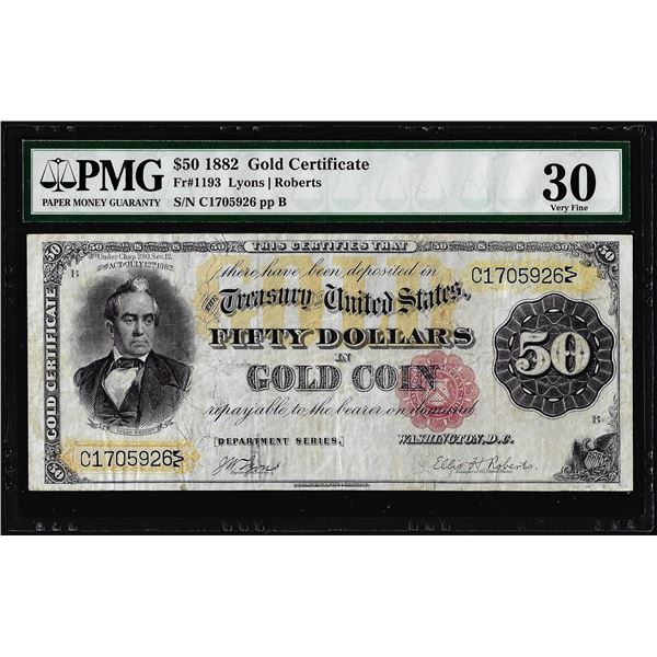 1882 $50 Gold Certificate Note Fr.1193 PCGS Very Fine 30