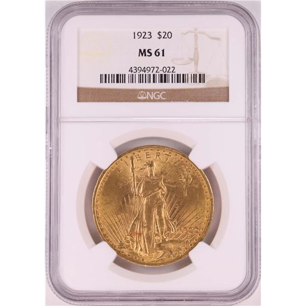 1923 $20 St. Gaudens Double Eagle Gold Coin NGC MS61