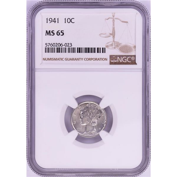1941 Mercury Dime Coin NGC MS65