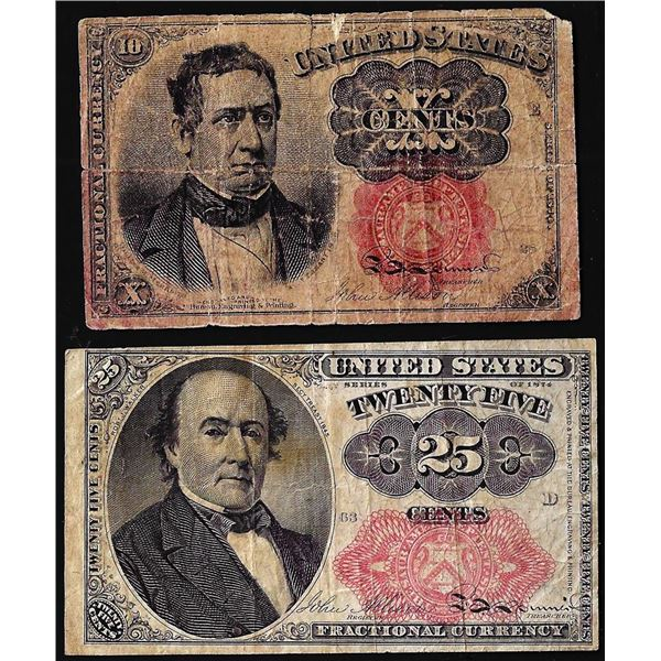 Lot of 1874 Fifth Issue Ten Cent & Twenty-Five Fractional Currency Notes