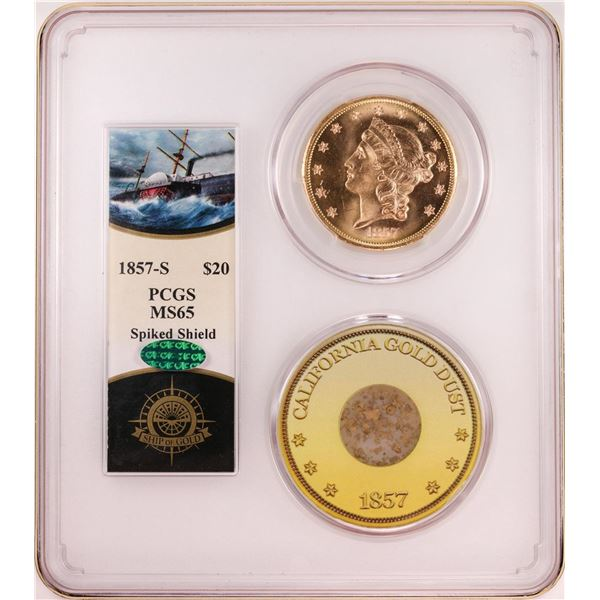 S.S. Central America 1857-S $20 Liberty Head Double Eagle Gold Coin PCGS MS65 CAC