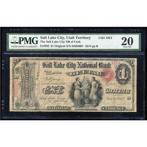 Original Series $1 Salt Lake City, Utah Territory CH# 1921 National Note PMG VF20