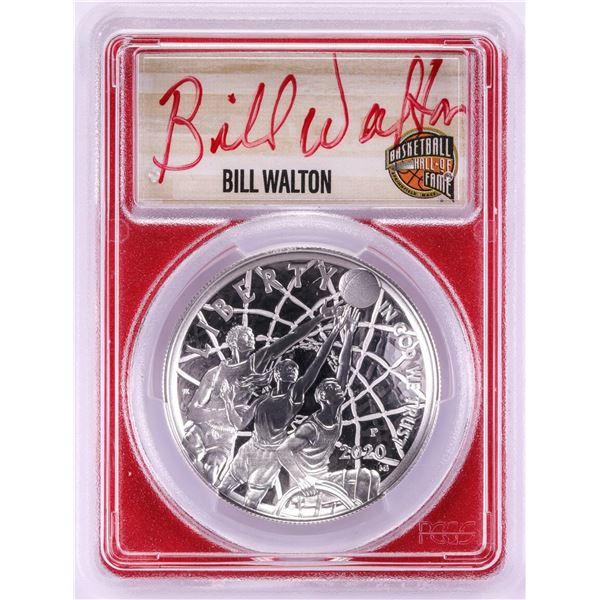 2020-P $1 Basketball HOF Silver Dollar Coin PCGS PR70DCAM Bill Walton Signature FDOI