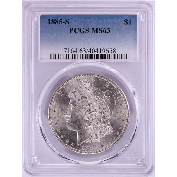 1885-S $1 Morgan Silver Dollar Coin PCGS MS63