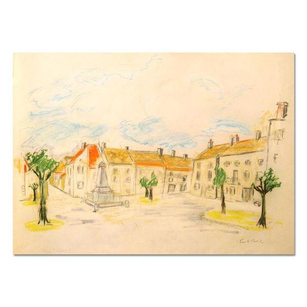 "Ensrud ""Village of Puligny-Montrachet, Burgundy"" Original Pastel on Paper"