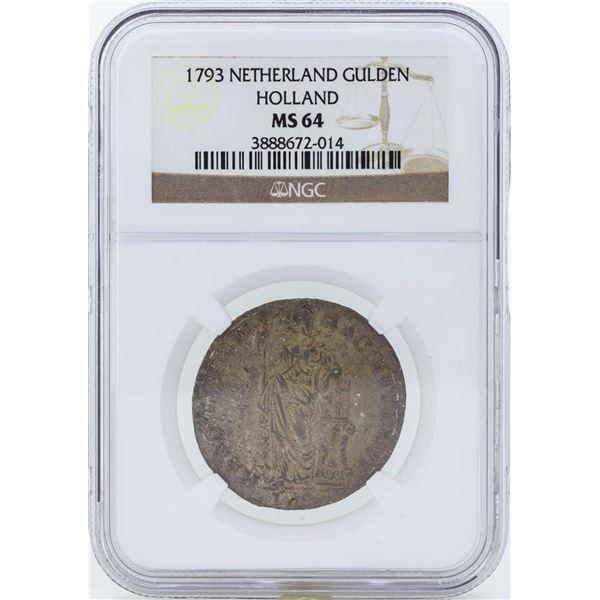 1793 Netherland Gulden Holland Coin NGC MS64