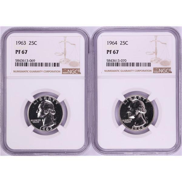 Lot of 1963-1964 Proof Washington Quarter Coins NGC PF67