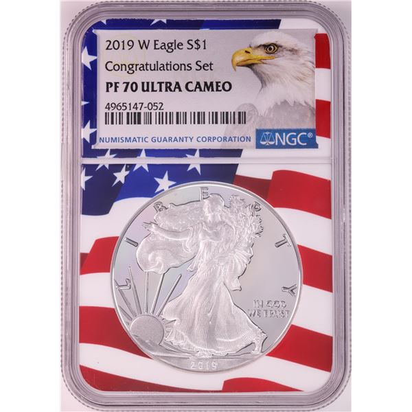 2019-W $1 Proof American Silver Eagle Coin NGC PF70 Ultra Cameo Congratulations Flag