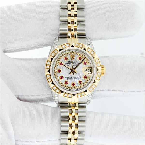 Rolex Ladies Two Tone Steel & Gold MOP Ruby & Diamond Datejust Watch With Rolex Box
