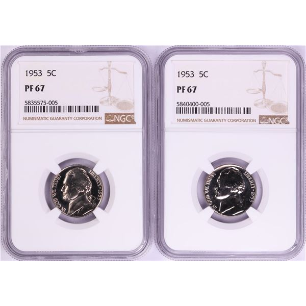 Lot of (2) 1953 Proof Jefferson Nickel Coins NGC PF67