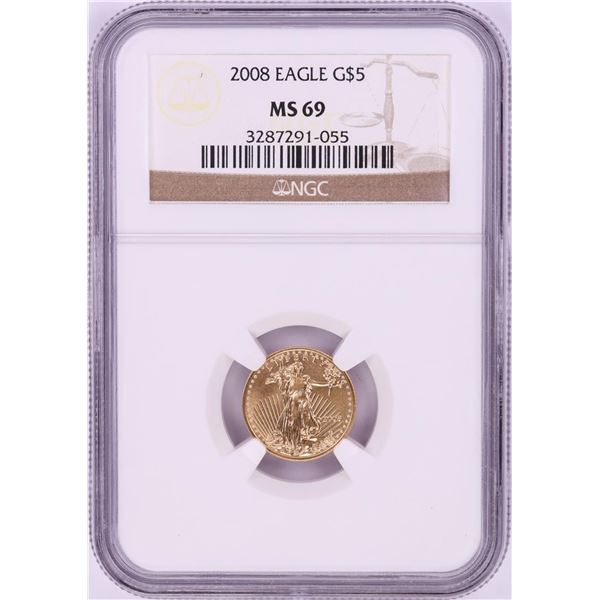 2008 $5 American Gold Eagle Coin NGC MS69