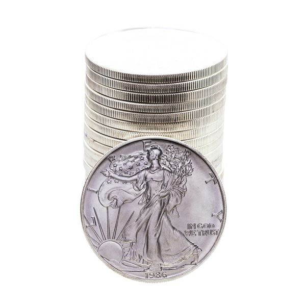 Roll of (20) Brilliant Uncirculated 1986 $1 American Silver Eagle Coins