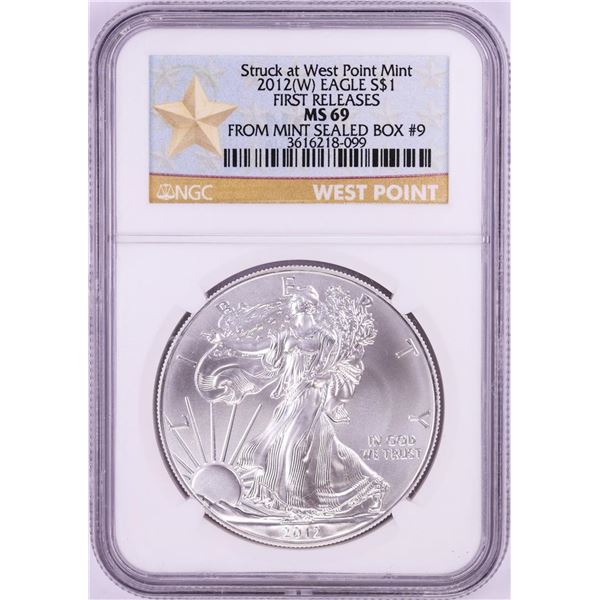 2012(W) $1 American Silver Eagle Coin NGC MS69 First Releases Mint Sealed Box #9