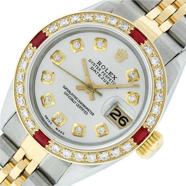 Rolex Ladies Two Tone Silver Diamond & Ruby Oyster Perpetual Datejust Watch