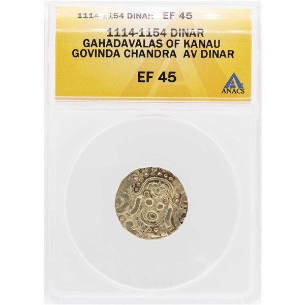 1114-1154 Gahadavalas Of Kanau Govinda Chandra AV Dinar Coin ANACS XF45