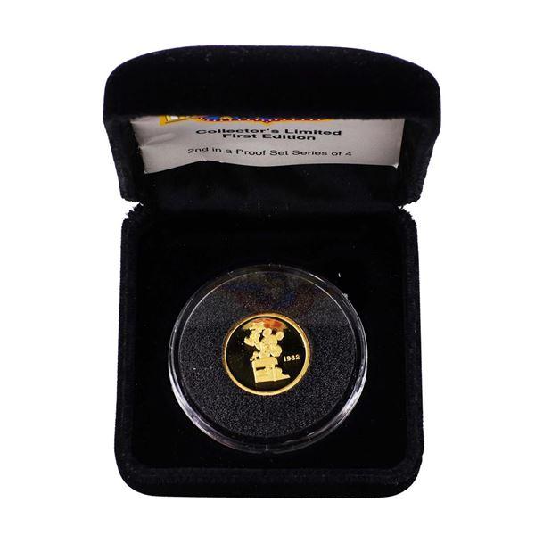 1989 Rarities Mint Hollywood Mickey 1/4 Oz. Gold Coin w/ Box & COA