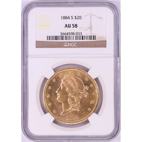1884-S $20 Liberty Head Double Eagle Gold Coin NGC AU58