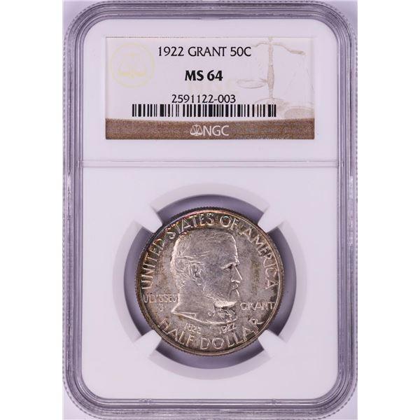 1922 Grant Commemorative Half Dollar Coin NGC MS64 Nice Toning