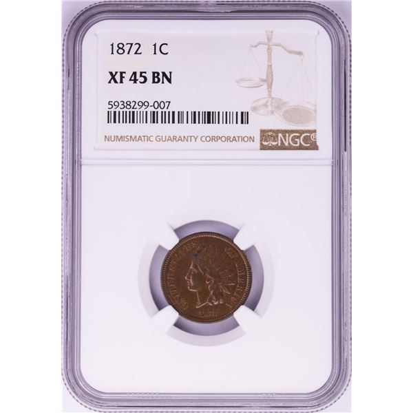 1872 Indian Head Cent Coin NGC XF45 BN
