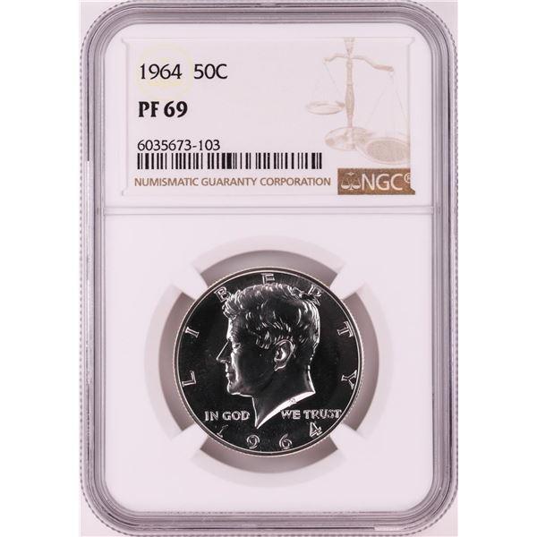 1964 Proof Kennedy Half Dollar Coin NGC PF69