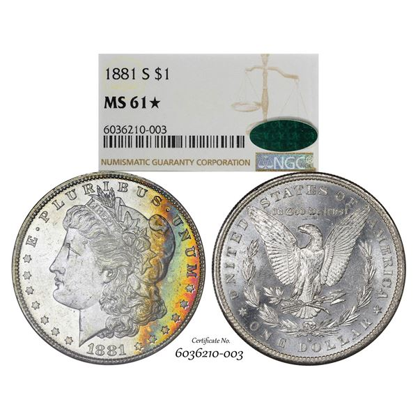 1881-S $1 Morgan Silver Dollar Coin NGC MS61* Star CAC Amazing Toning