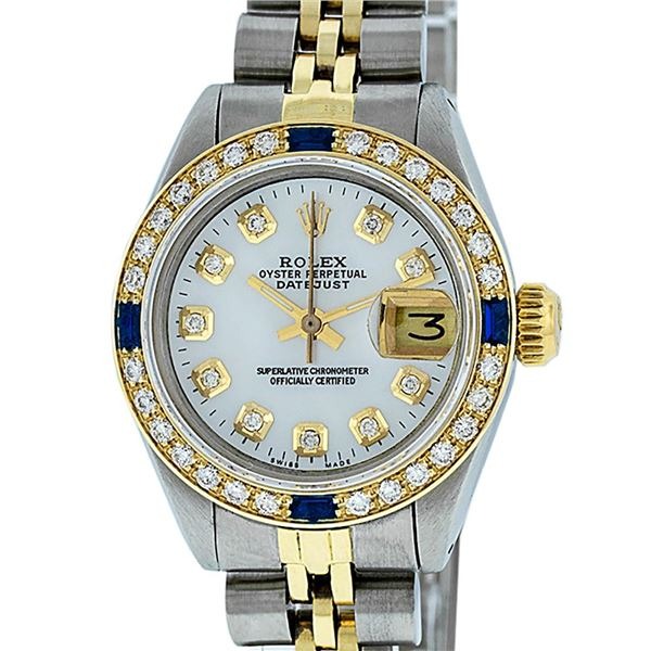 Rolex Ladies Two Tone MOP Diamond & Sapphire Oyster Perpetual Datejust Watch
