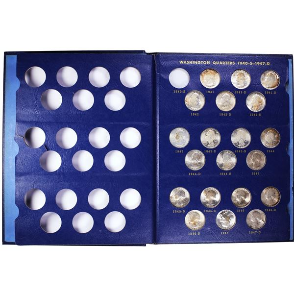 Partial Set of (62) 1941-1964 Washington Quarter Coins in Book