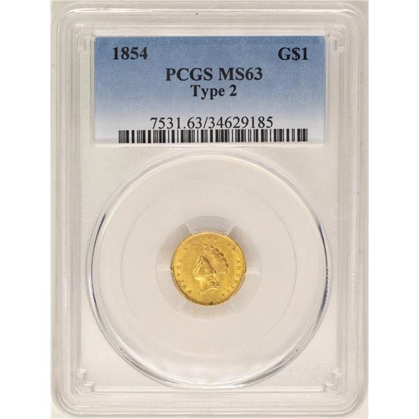 1854 Type 2 $1 Indian Princess Head Gold Dollar Coin PCGS MS63