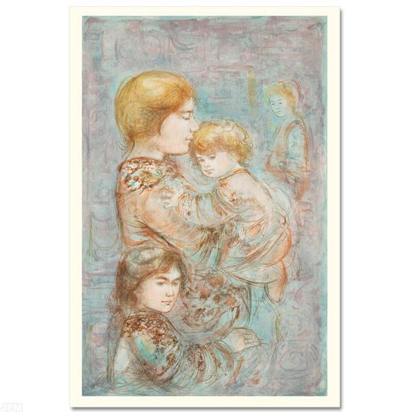 """Edna Hibel (1917-2014) """"Woman with Children"""" Limited Edition Lithograph"""