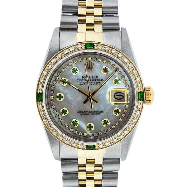 Rolex Men's Two Tone MOP Diamond & Emerald Oyster Perpetual Datejust Wristwatch