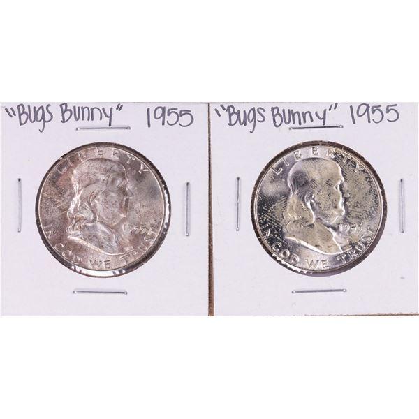 "Lot of (2) 1955 ""Bugs Bunny"" Franklin Half Dollar Coins"