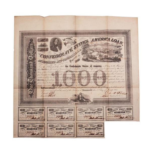 1863 $1,000 Confederate Bond Obsolete Sheet B-134