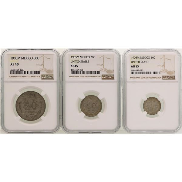 Lot of (3) 1905M Mexico Centavos Silver Coins NGC Graded