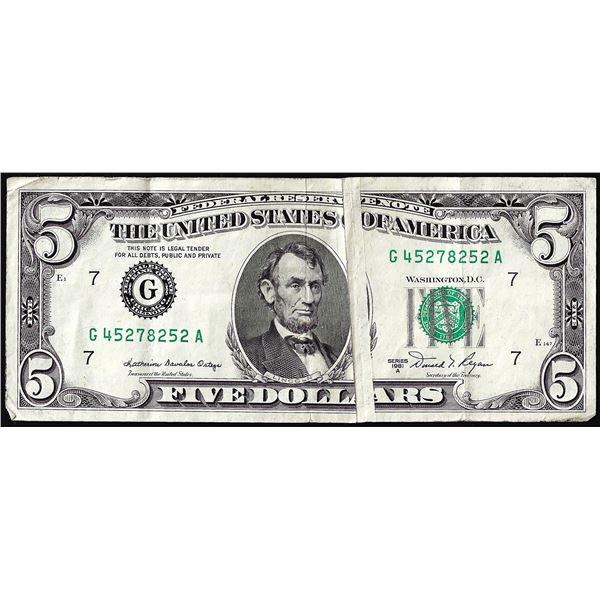 1981A $5 Federal Reserve Gutter Fold Error Note
