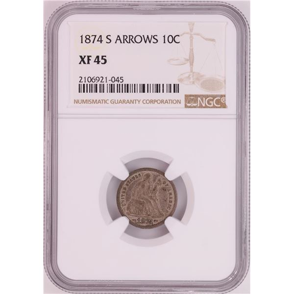 1874-S Seated Liberty Dime Coin NGC XF45