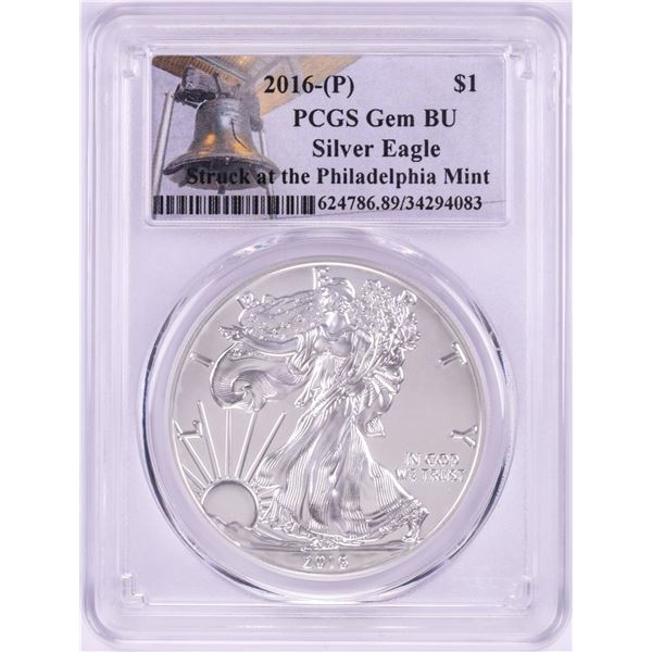 2016-P $1 American Silver Eagle Coin PCGS Gem BU Struck at the Philadelphia Mint