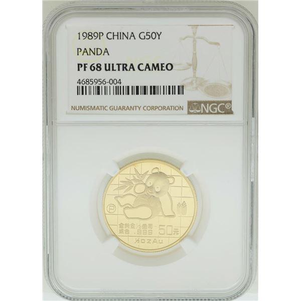 1989P China 50 Yuan Panda Gold Coin NGC PF68 Ultra Cameo