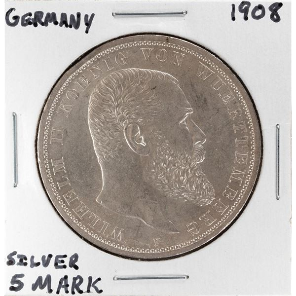 1908 Germany 5 Mark Wuttemberg Silver Coin