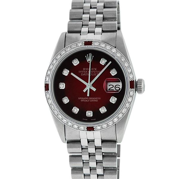 Rolex Men's Stainless Steel Diamond & Ruby Datejust Oyster Perpetual Wristwatch