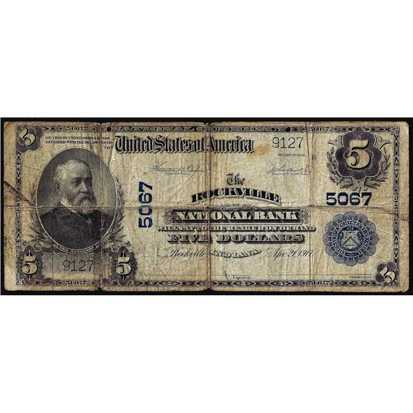 1902PB $5 Rockville National Bank, IN CH# 5067 National Currency Note