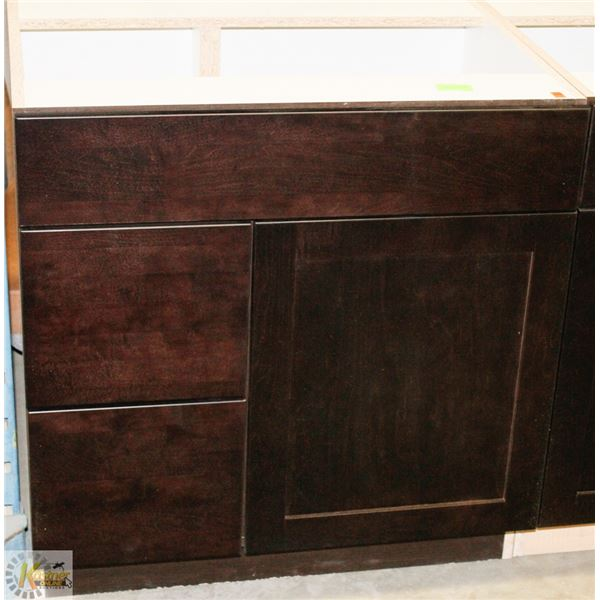 """SINK VANITY BASE CAB 30"""" WIDE WITH BANK DRWS ON"""