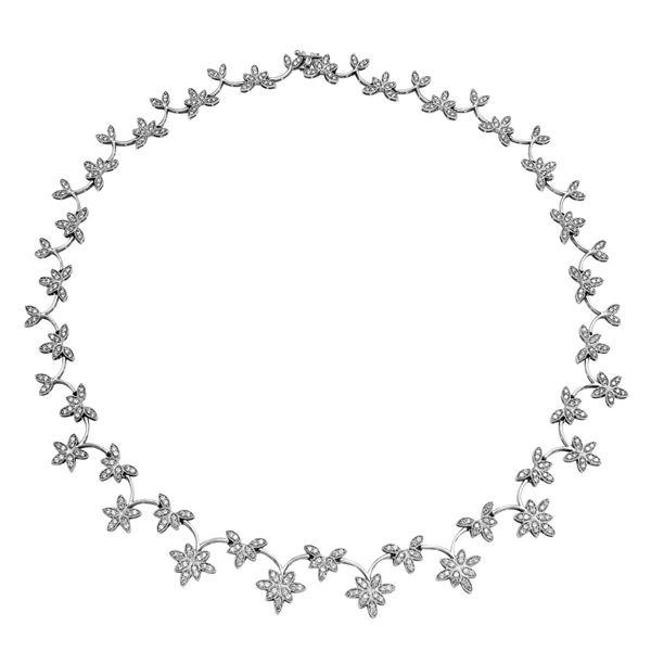 Natural 4.57 CTW Diamond Necklace 18K White Gold - REF-531M9F