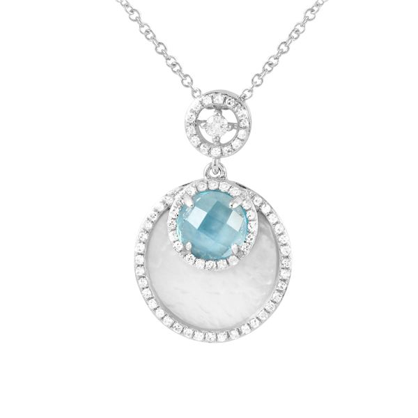 Natural 2.62 CTW Topaz & Diamond Necklace 14K Gold - REF-43X2T