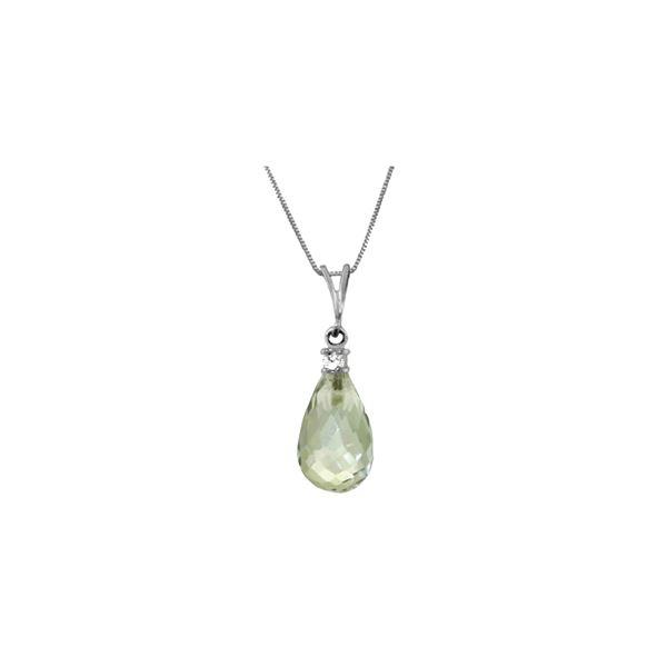Genuine 2.3 ctw Green Amethyst & Diamond Necklace 14KT White Gold - REF-22Y8F